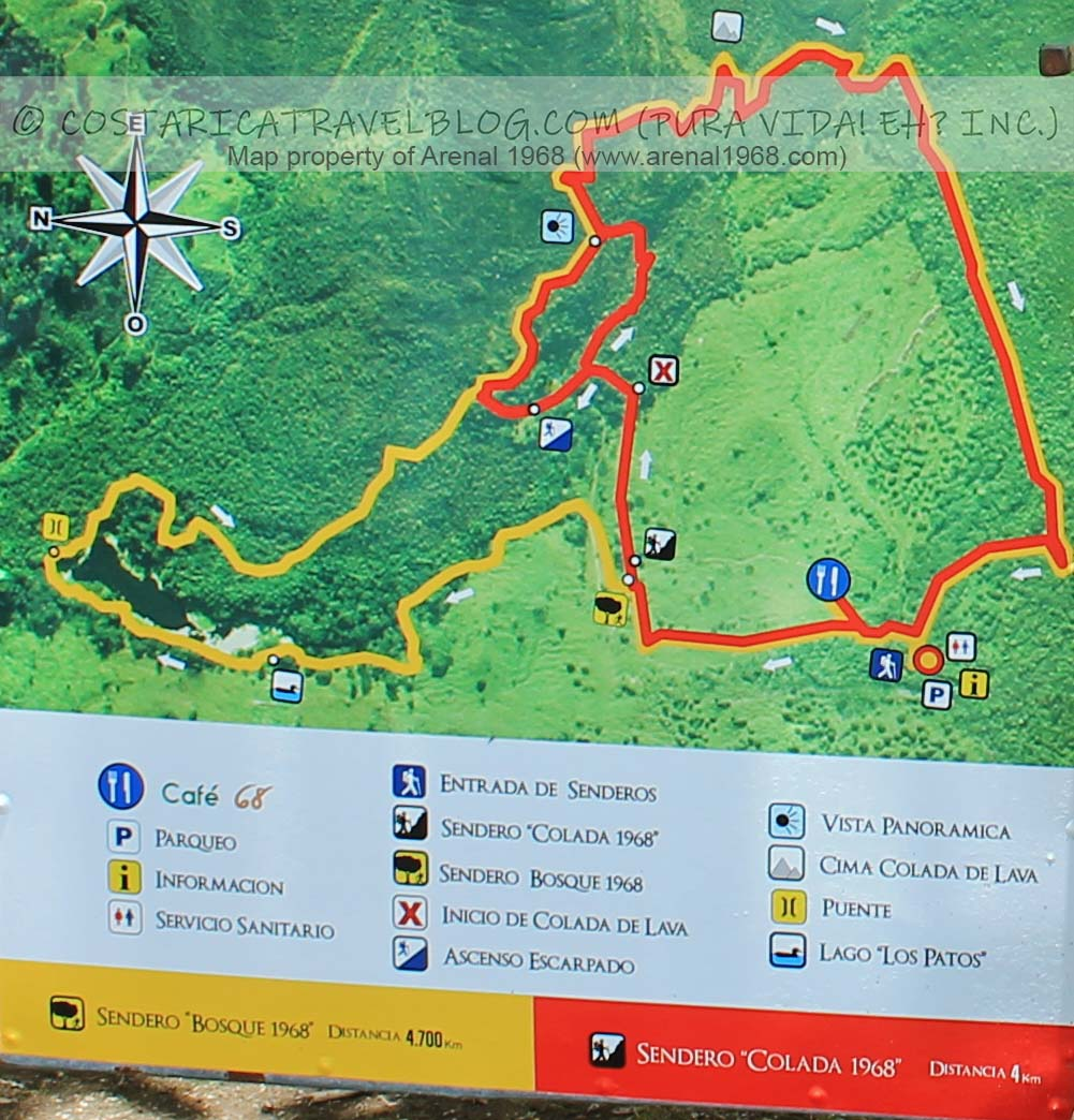 Arenal 1968 Trail Map