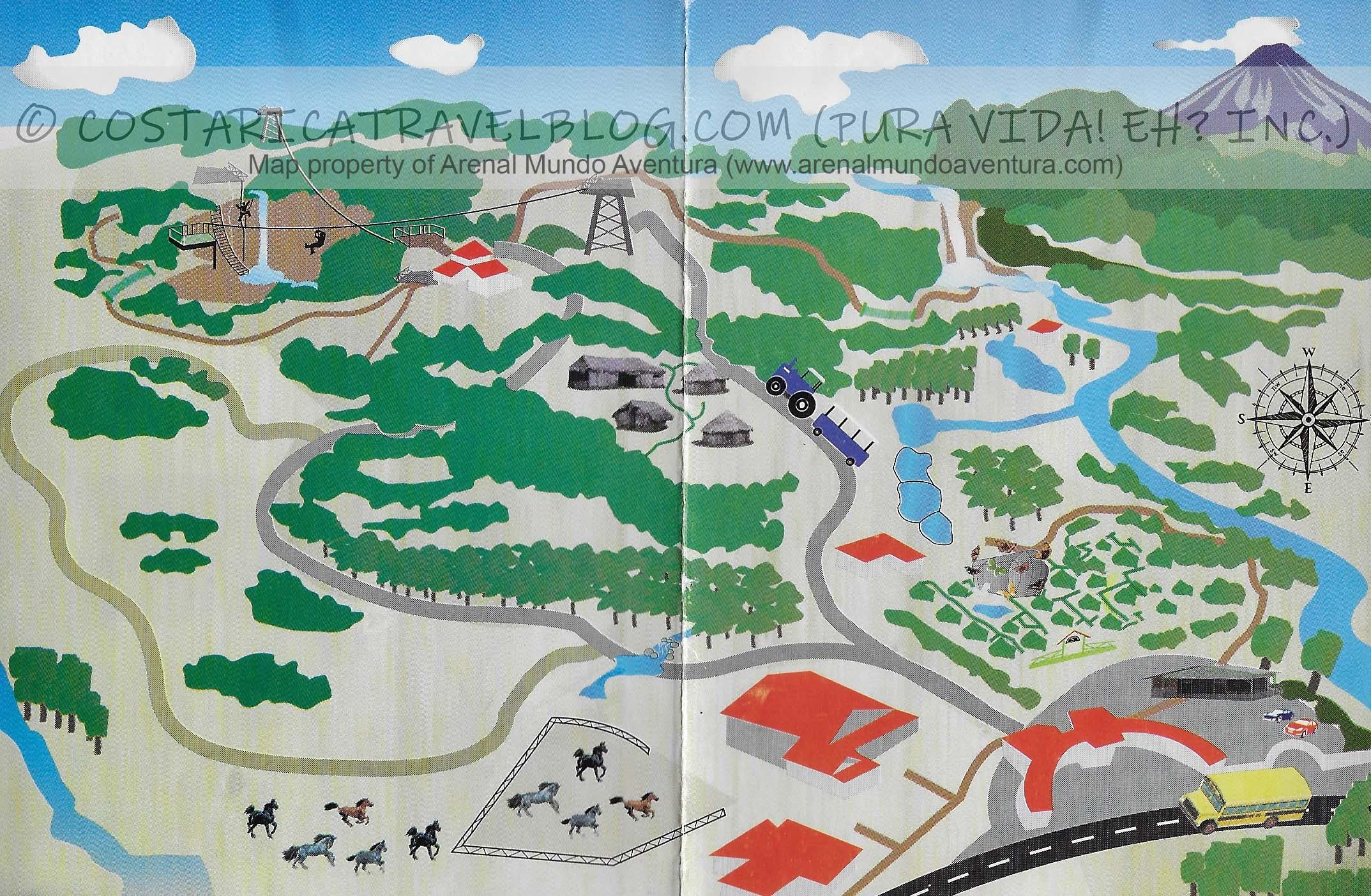 Arenal Mundo Aventura Ecological Park Map