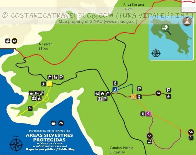 Arenal Volcano National Park Trail Map