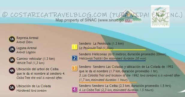 Arenal Volcano National Park Trail Map Key #1