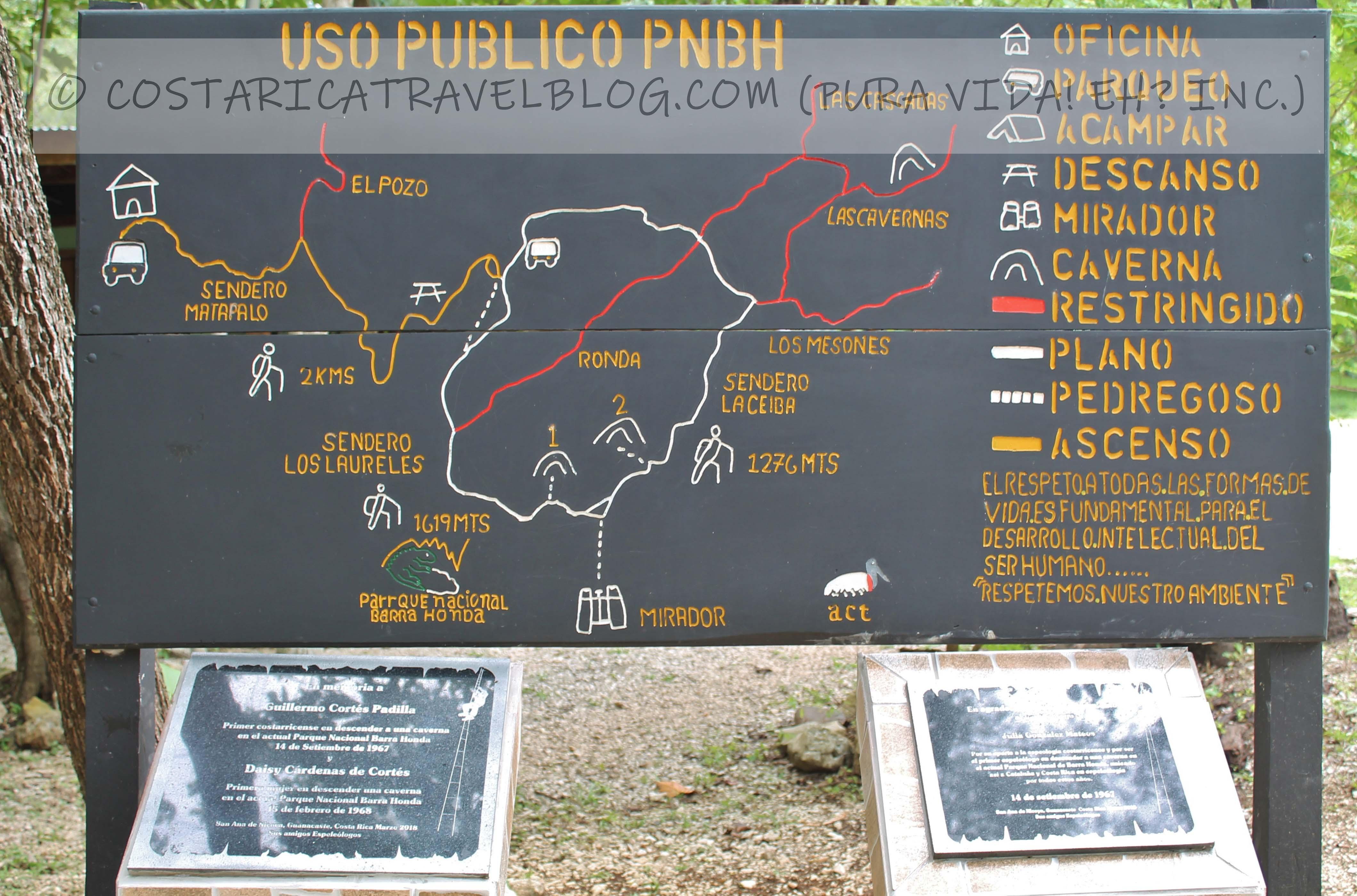 Barra Honda National Park Trail Map