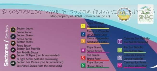 Corcovado National Park Trail Map Key #1