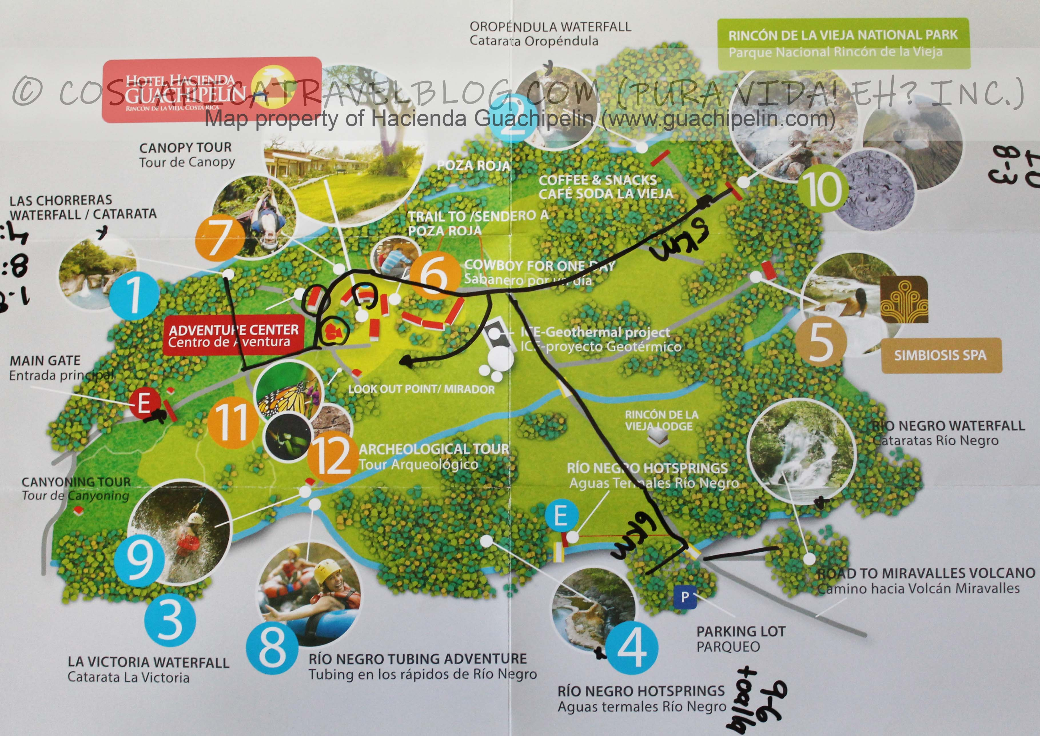 Hacienda Guachipelin Map
