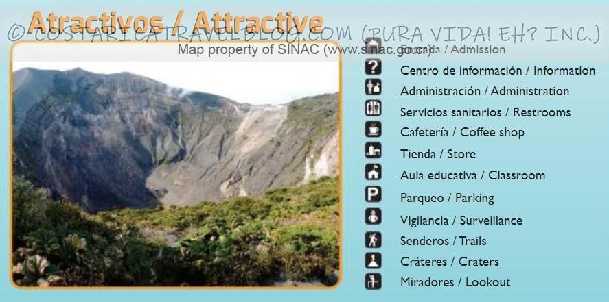 Irazu Volcano National Park Trail Map