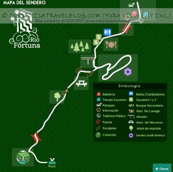 La Fortuna Waterfall Trail Map
