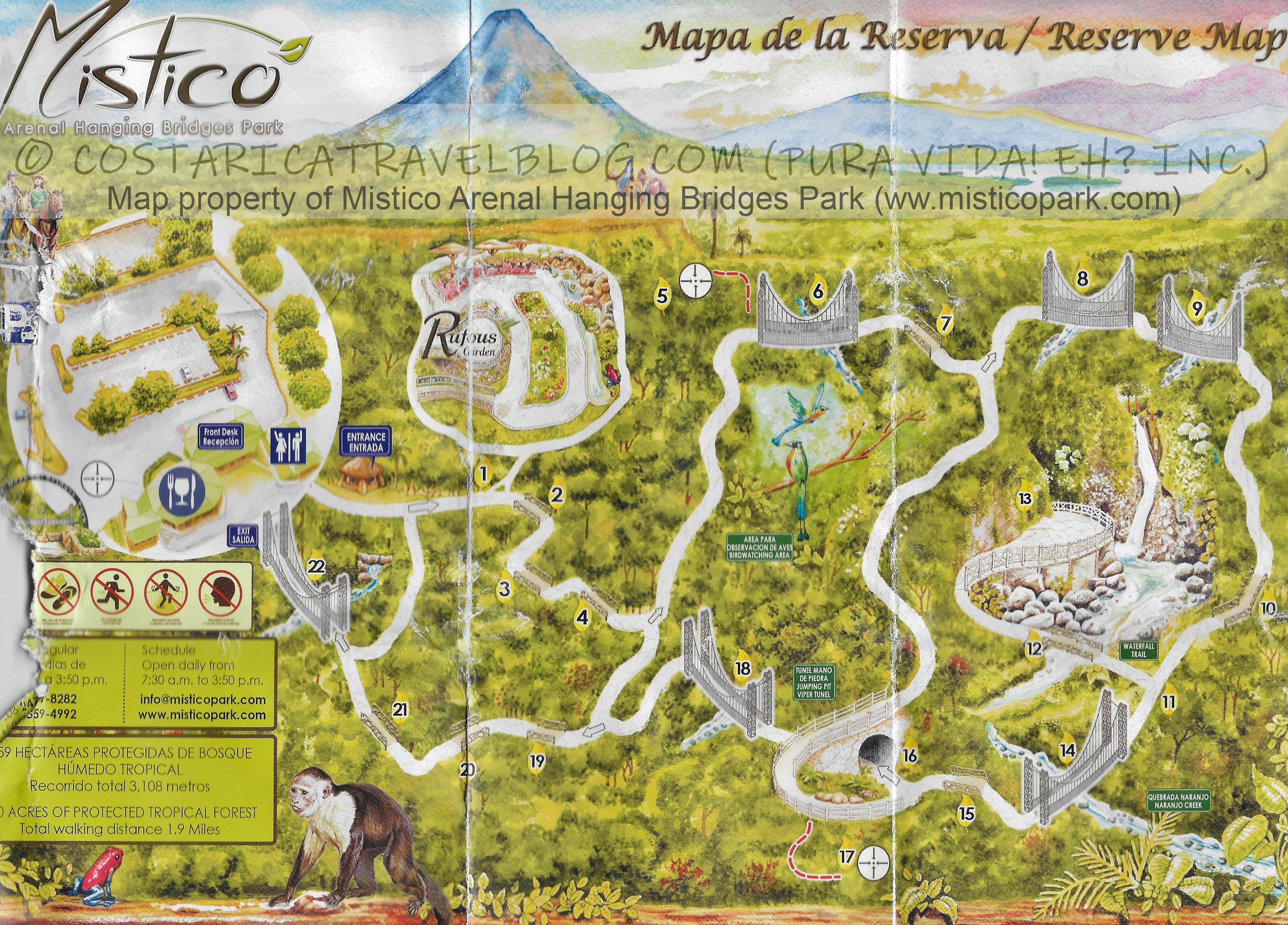 Mistico Arenal Hanging Bridges Park Map