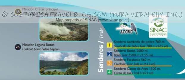 Poas Volcano National Park Trail Map Key #1