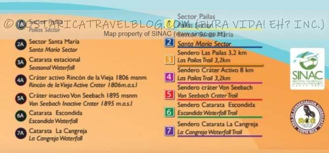 Rincon de la Vieja National Park Trail Map Key #1