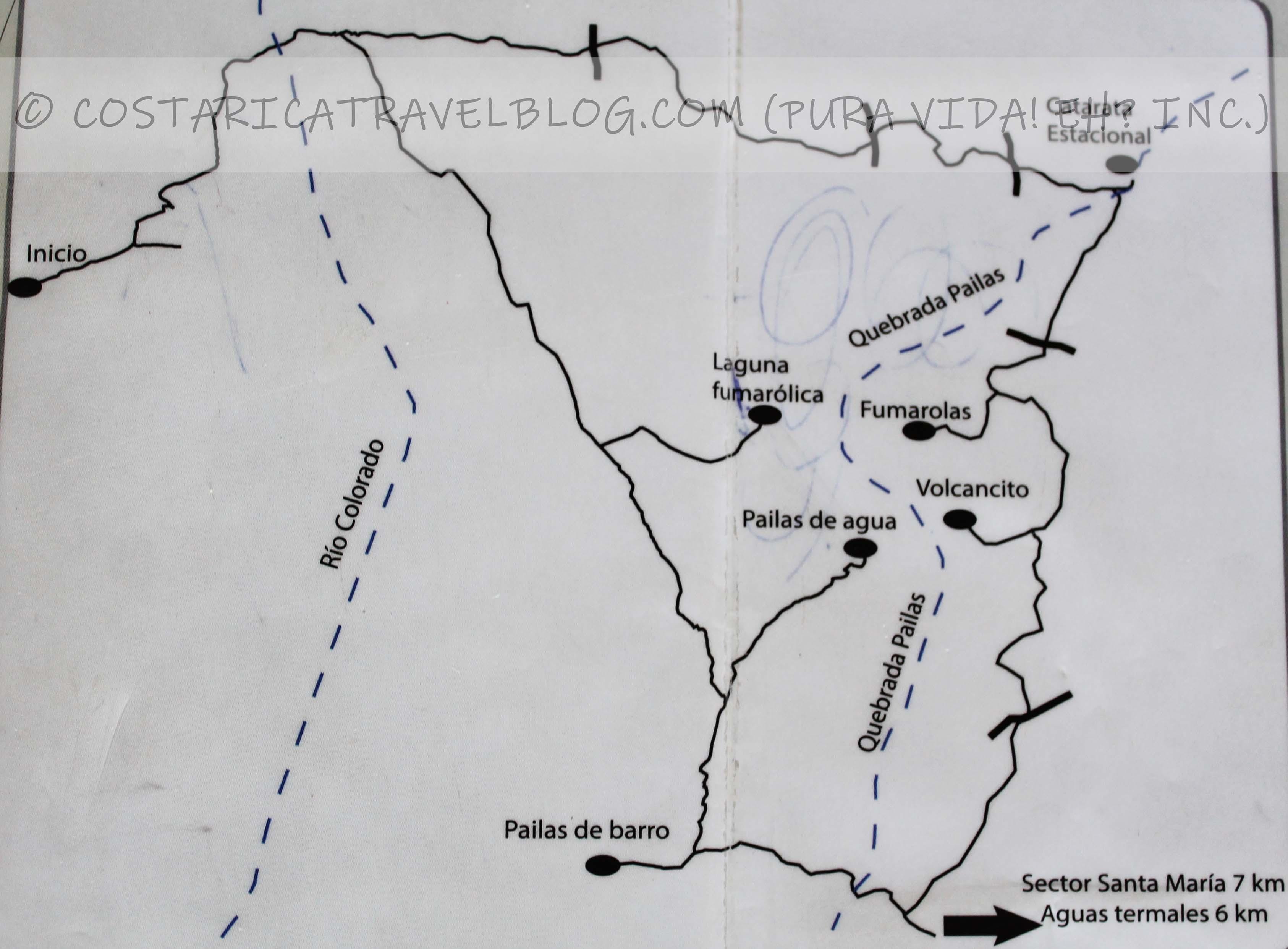 Rincon de la Vieja National Park Trail Map (Las Pailas)