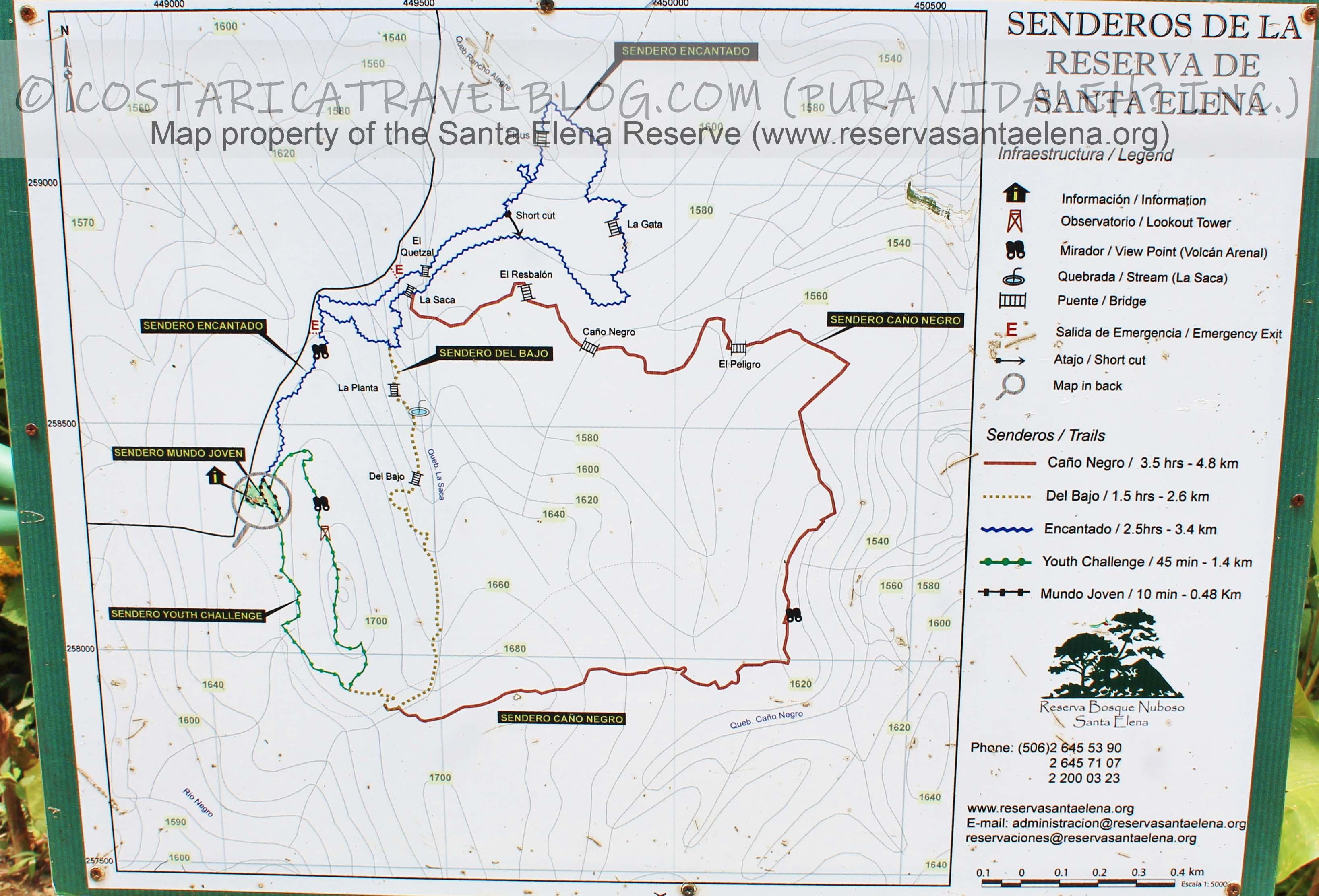 Santa Elena Cloud Forest Reserve Trail Map