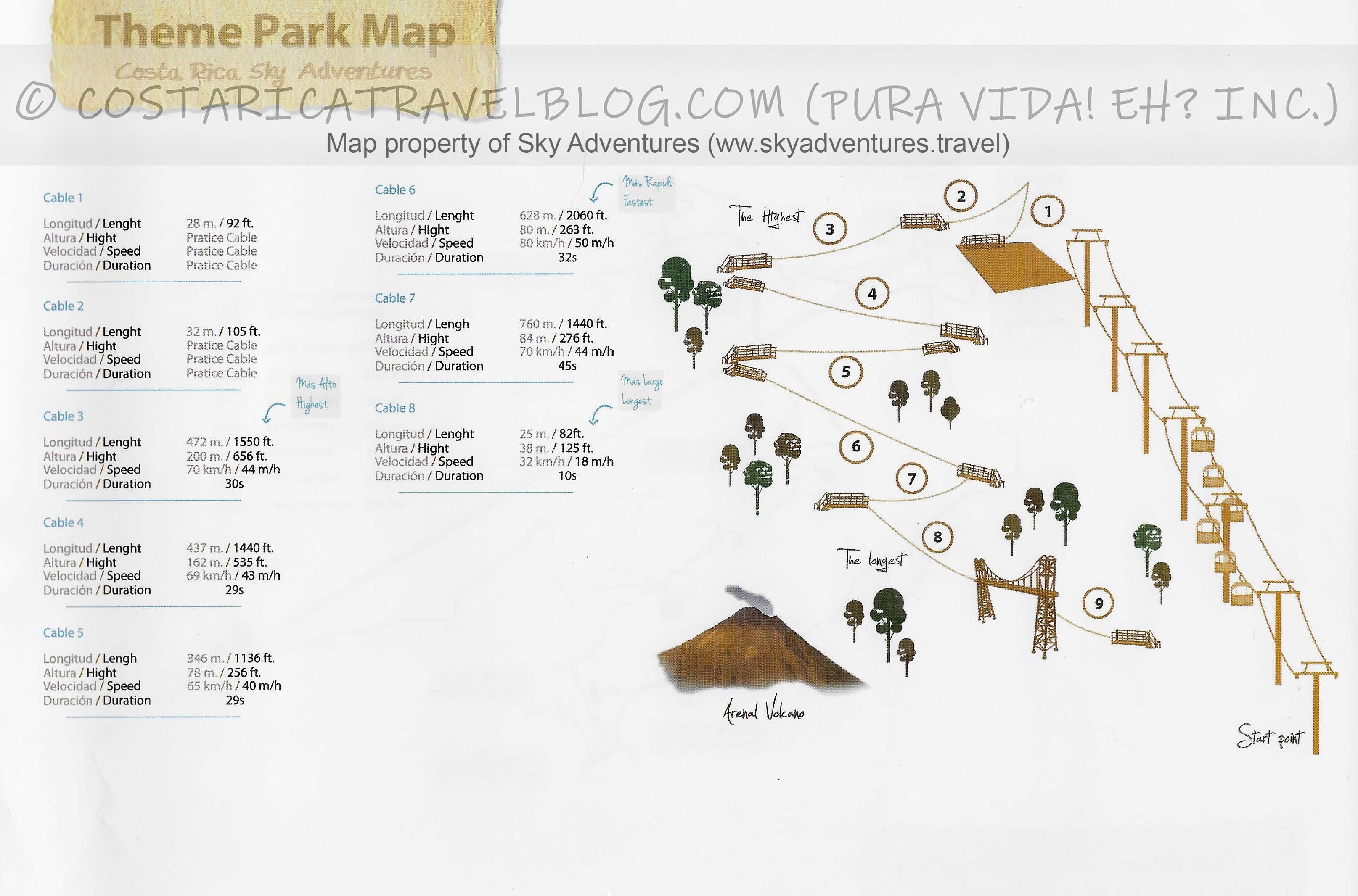 Sky Adventures Arenal Sky Trek Ziplining Tour Map
