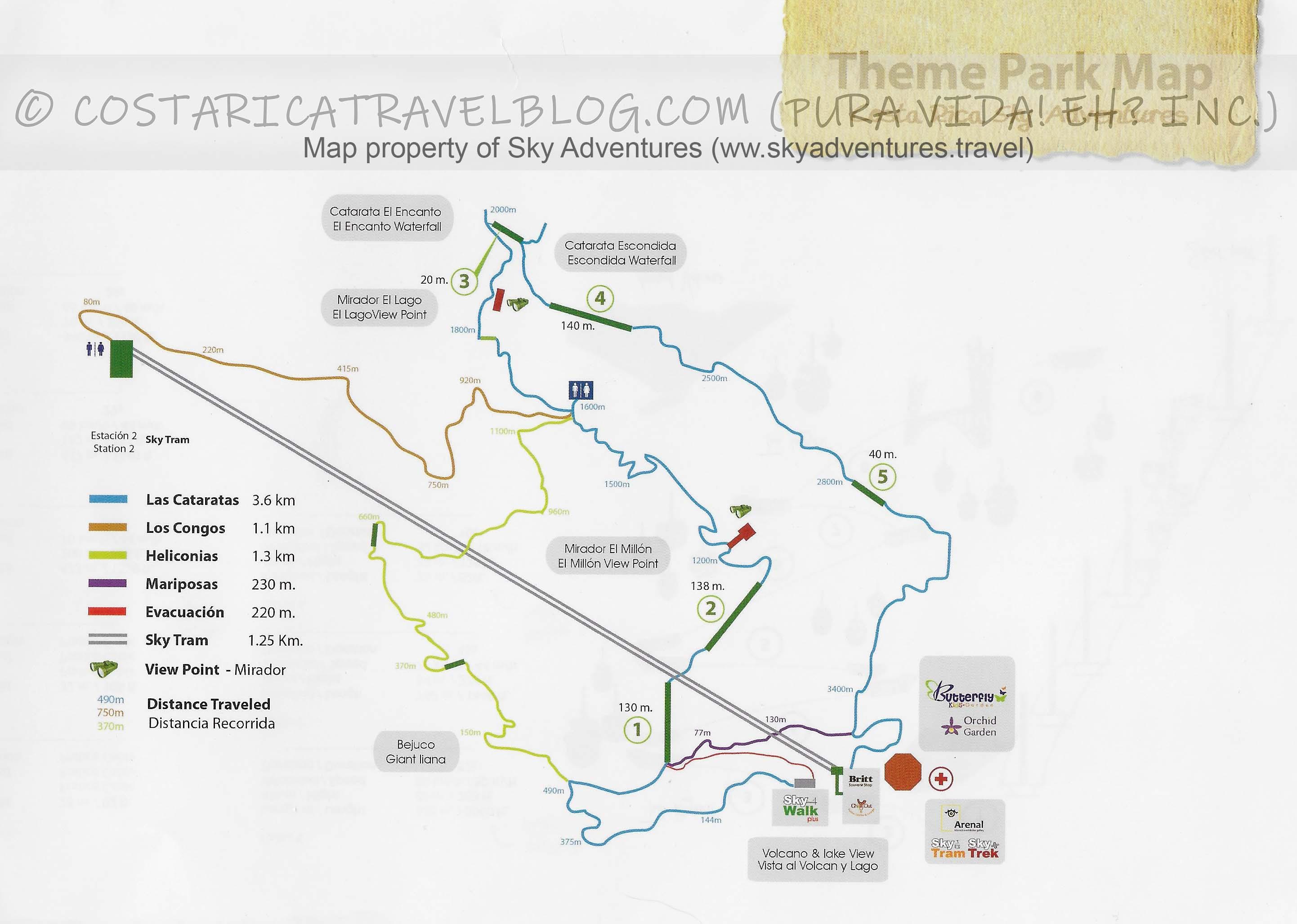Sky Adventures Arenal Sky Walk Hanging Bridges Map