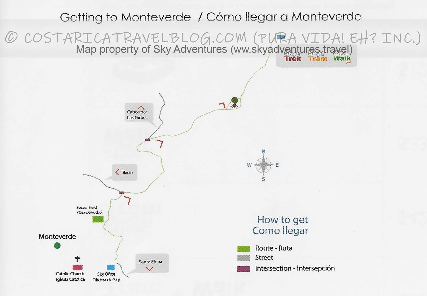 Sky Adventures Monteverde Park Map