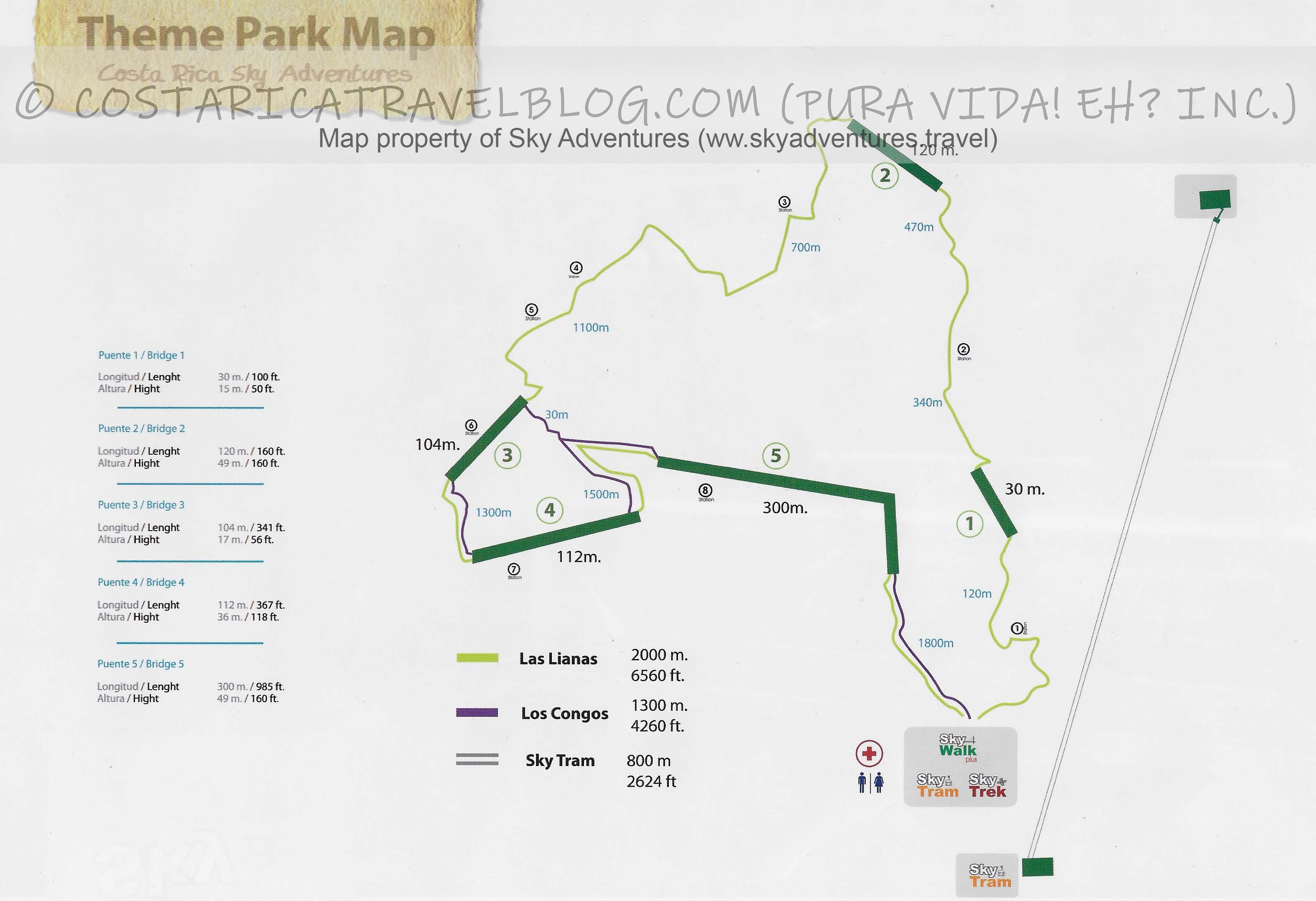 Sky Adventures Monteverde Sky Walk Hanging Bridges Map